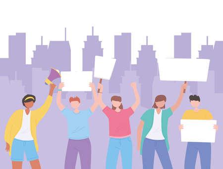 manifestation protest activists, men and women standing together and holding blank banner vector illustration