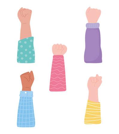 manifestation protest activists, different raised hands protesting vector illustration