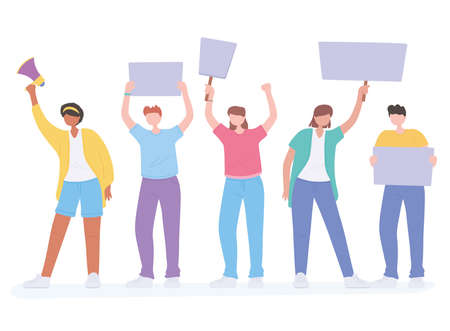 manifestation protest activists, crowd protesting people vector illustration