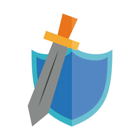 cartoon sword and shield toy object for small children to play, flat style icon vector illustration Çizim