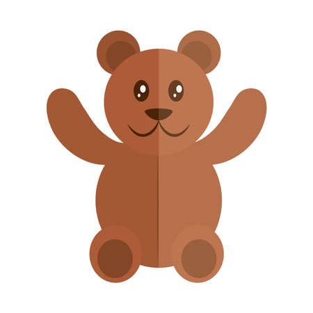 cartoon teddy bear toy object for small children to play, flat style icon vector illustration
