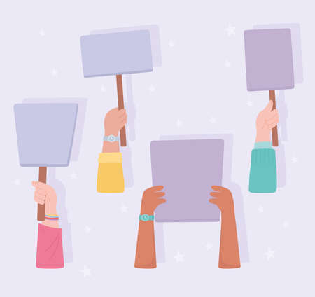 manifestation protest activists, hands with banner and placards cartoon vector illustration Vettoriali