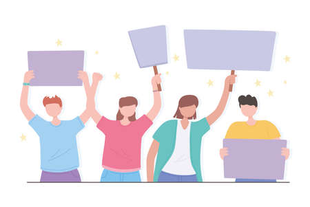 manifestation protest activists, people protest with banners cartoon vector illustration Vettoriali