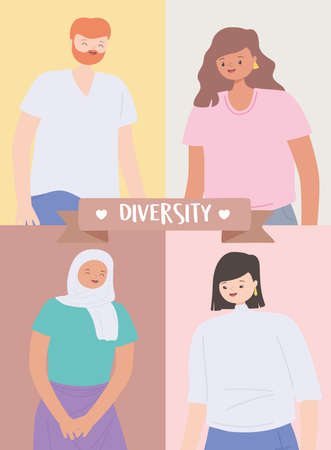 diverse multiracial and multicultural people, portrait man and women character vector illustration