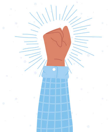 manifestation protest activists, raised hand fist social action vector illustration