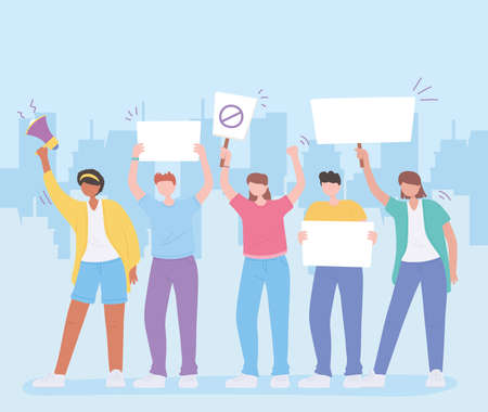 manifestation male and female protesters or activists with megaphone and placards vector illustration Vettoriali