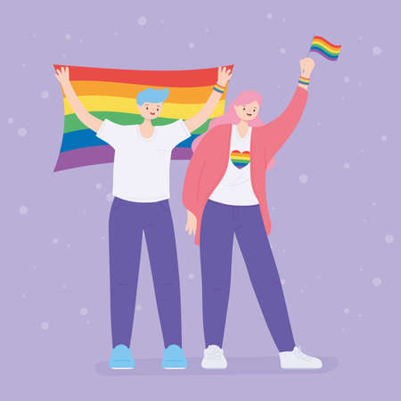 LGBTQ community, happy girl and boy with rainbow flags, gay parade sexual discrimination protest vector illustration