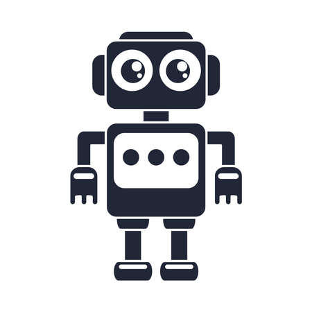cartoon robot toy object for small children to play, silhouette style icon vector illustration Çizim