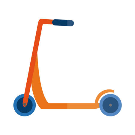 cartoon kick scooter toy toy object for small children to play, flat style icon vector illustration