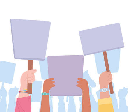 manifestation protest activists, group people with raised banners vector illustration