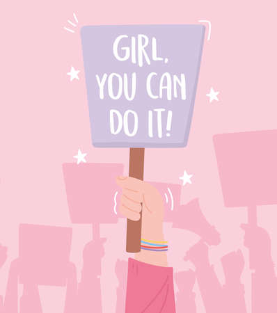 manifestation protest activists, hand with placard female march for rights vector illustration