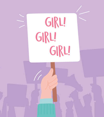 manifestation protest activists, hand holding board with girl message cartoon vector illustration