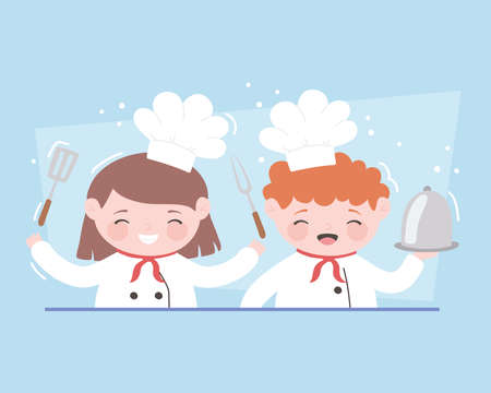 chefs girl and boy cartoon character with platter fork and spatula vector illustration 일러스트