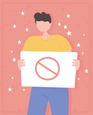 manifestation protest activists, young man holding prohibited placard vector illustration