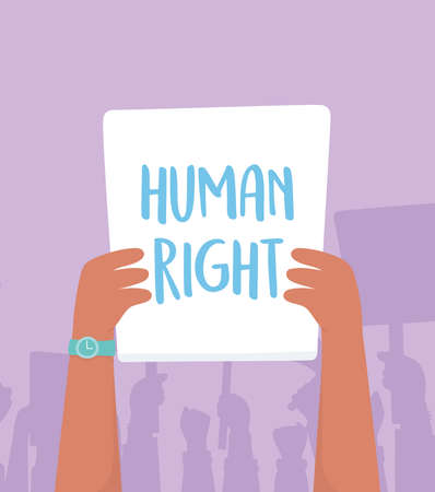 manifestation activists, protest raised arm with fight for rights caption vector illustration
