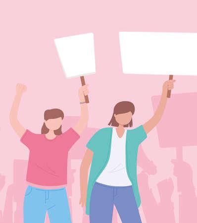 manifestation protest activists, young women holding placard message revolution vector illustration