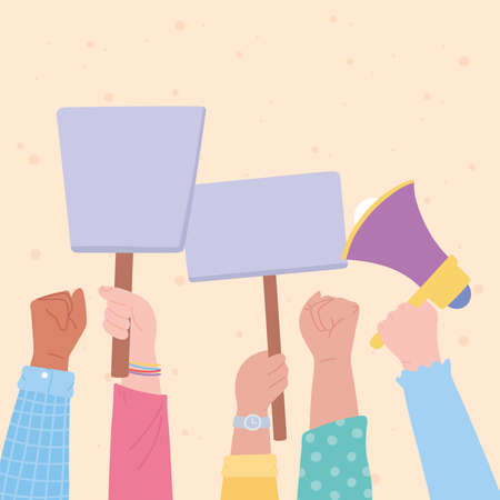 manifestation protest activists, raised up hands demonstration picket with megaphone and signboards vector illustration Vettoriali