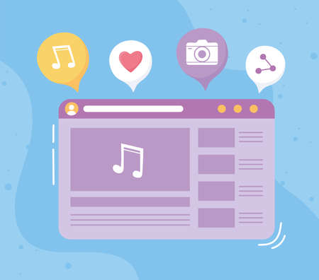 social network musical player on the screen vector illustration