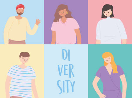 diversity multiracial and multicultural, people of different nationalities vector illustration 일러스트