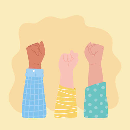 manifestation protest activists, raised hands in fist cartoon vector illustration