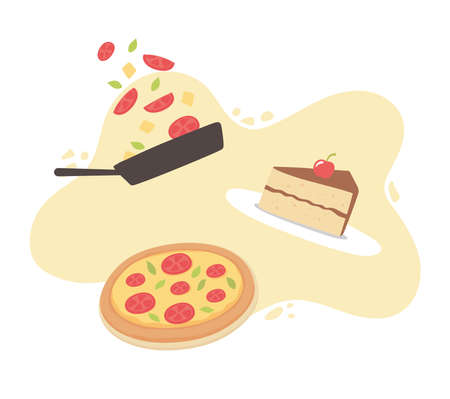 food piece cake pizza and saucepan with food cartoon vector illustration Illustration