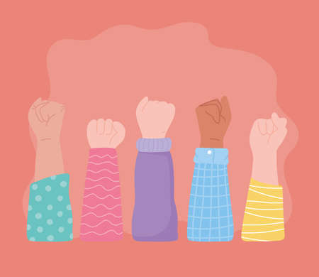 manifestation protest activists, raised up hands demonstrate power vector illustration