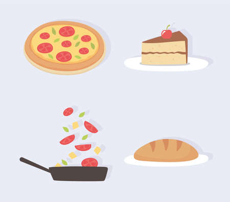 food kitchen slice cake pizza bread vegetables in saucepan icons vector illustration