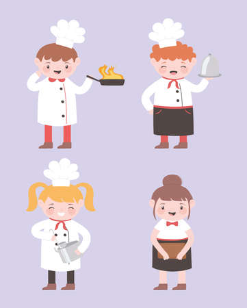 chef cartoon character male and female with uniform and utensils kitchen vector illustration