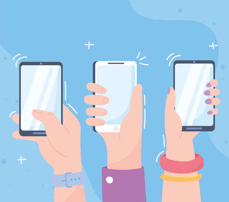 hands with smartphones, social network communication system and technologies vector illustration