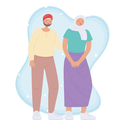 diverse multiracial and multicultural people, arabian young couple character cartoon design vector illustration