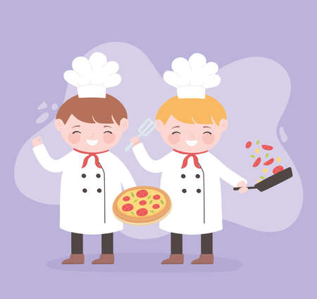 chefs boys cartoon character with pizza and salad in saucepan vector illustration Stock Illustratie