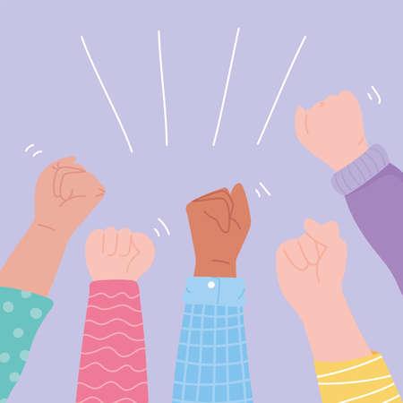 manifestation protest activists, diversity up hands revolution vector illustration Vettoriali