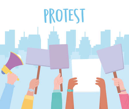manifestation protest activists, politic picket hands with placards in the city vector illustration
