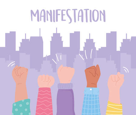 manifestation protest activists, hands up message protesting in the city vector illustration Vettoriali