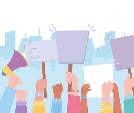 manifestation activists, hands raised in protest with speaker and billboards vector illustration