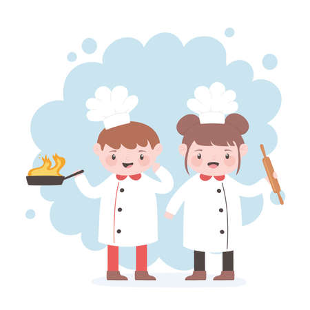 chefs boy and girl cartoon character with fried pan and roller pin vector illustration