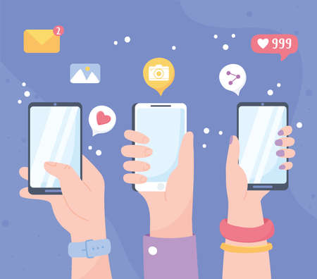 raised hands with mobile share like follow chat, social network communication system and technologies vector illustration Illustration