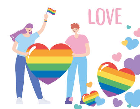 LGBTQ community, young people with rainbow flag hearts love, gay parade sexual discrimination protest vector illustration Illustration