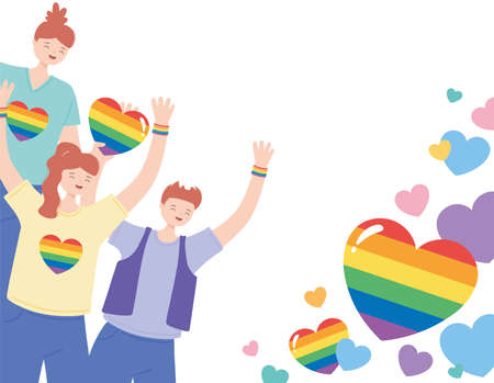 LGBTQ community, young people character with rainbow hearts, gay parade sexual discrimination protest vector illustration