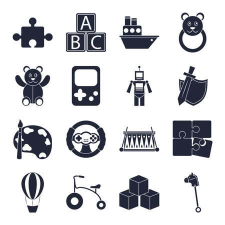 cartoon toy puzzle cubes boat bear robot horse, object for small children to play, silhouette style icons set vector illustration Illustration