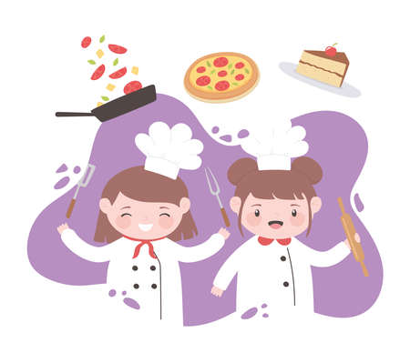 little girls chef cartoon character with pizza cake and utensils vector illustration