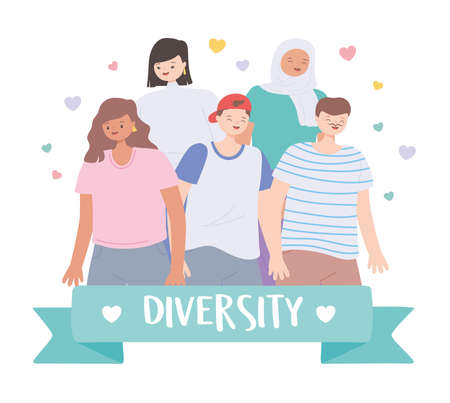 diverse multiracial and multicultural group people standing different characters vector illustration
