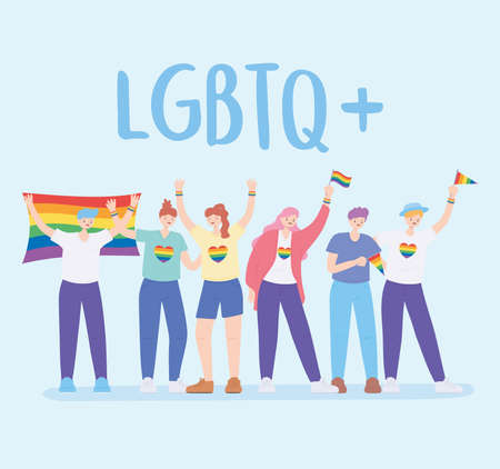 LGBTQ community, people hug holding a rainbow flag, gay parade sexual discrimination protest vector illustration