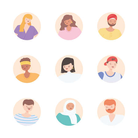 diverse multiracial and multicultural people, round block icons faces diversity persons vector illustration