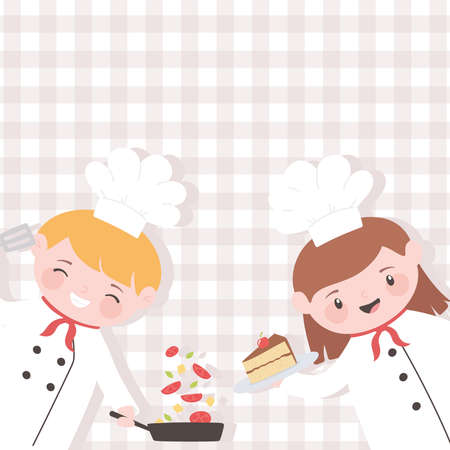 chefs boy and girl with cake and salad cartoon character vector illustration