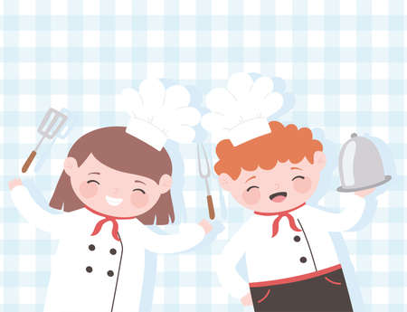 chefs girl and boy cartoon with platter fork and spatula tablecloth background vector illustration Illustration