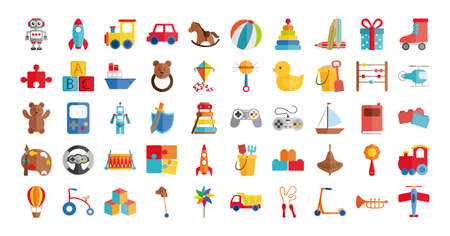 cartoon toys object for small children to play, flat style icons set vector illustration