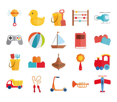 cartoon toy rattle duck bucket abacus helicopter boat plane, object for small children to play, flat style icons set vector illustration Illustration