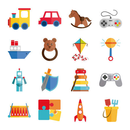 cartoon toy train car horse control boat rattle kite, object for small children to play, flat style icons set vector illustration