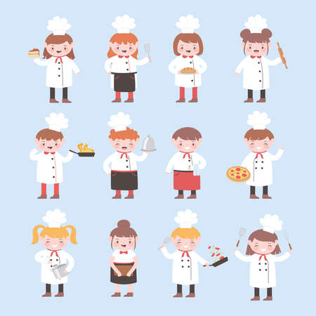 cartoon character chefs girl and boy funny cook delicious food vector illustration 일러스트